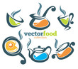 colorful vector collection of cooking equipment and food symbols