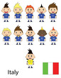Italy football team on a white background. Raster