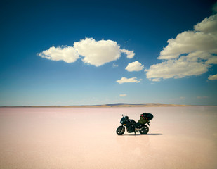 Modern motorbike at salt lake. Travel photo