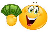 Emoticon with dollars - 65993801