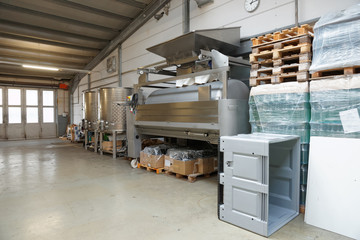 Winemaking equipment in hangar