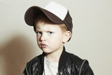 little boy.fashion children.Boy in Tracker Hat.Sad Child poster