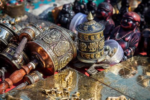 Fotobehang Nepal Prayer wheels at Kathmandu market