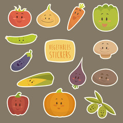 funny cartoon vegetables vector illustration, flat style