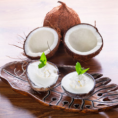 Coconut ice creams in coco shells