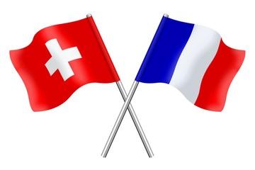 Drapeaux : Suisse et France