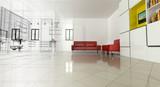 Fototapety Appartamento, Rendering 3d progetto, interni