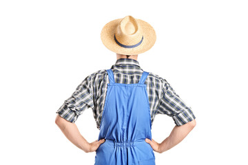 Rear view, studio shot of a male farmer in jumpsuit