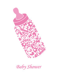 Baby girl arrival announcement card. baby bottle