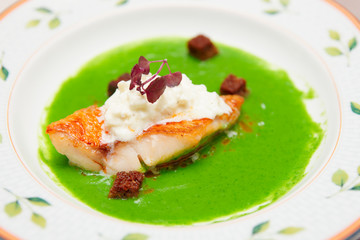Seabass with herbs and spinach puree