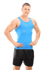 Muscular young man posing