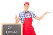 Male ice cream seller gesturing with hand