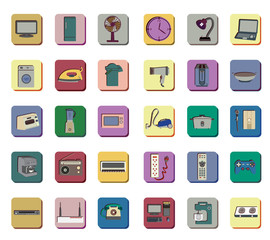 Icon set of electronic appliances