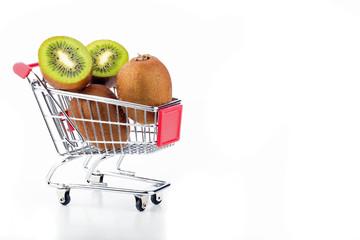 Kiwi's in a supermarket cart