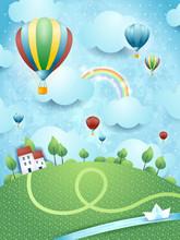 Fantasy krajobraz z balonów na ogrzane powietrze i rzeki