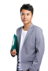 Asian business man hold clipboard