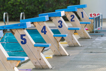 Starting blocks with numbers 1 to 5 are used for competitive swi