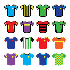 Football or soccer jerseys colorful icons set