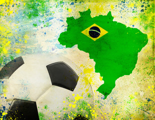 Soccer ball, Brazil map and colors of the flag