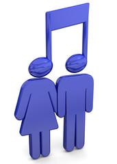 People Listen Music Concept - 3D