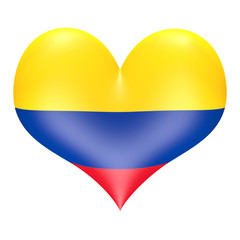 Colombian flag in 3D heart shape
