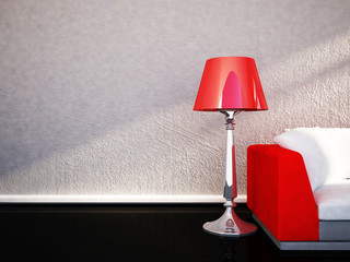 a lamp and a sofa