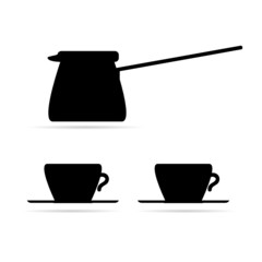 coffee pot and coffee cups black vector
