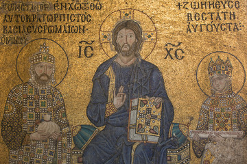 Mosaic detail Jesus Christ with Emperor Constantine and Zoe