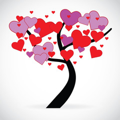 Illustration of a tree with red and pink heart shaped leaves