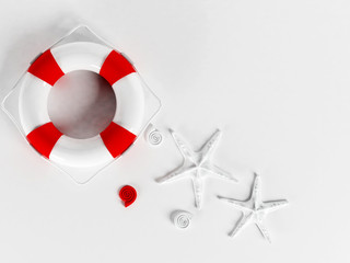 a lifebuoy on a white