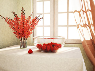 strawberries on table in the plate