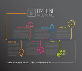 Dark Infographic timeline report template with lines