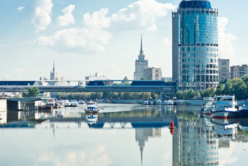 view on Bagration Bridge through Moskva river in Moscow