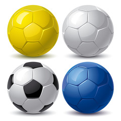 set of soccer balls in blue yellow white and black color