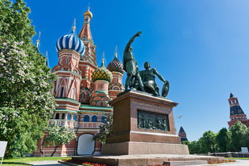 The monument to Minin and Pozharsky in front of Cathedral on the