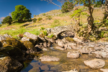 Stone footbridge over Rowentreethwaite Beck