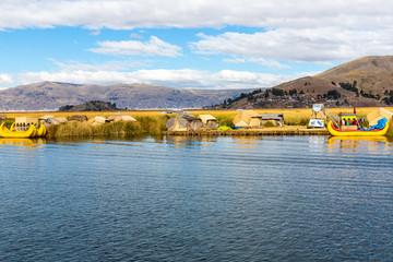 Floating Islands on Lake Titicaca Puno, Peru, South America