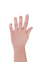 Hand isolated on white gesturing grabbing.