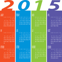 Colorful Calendar Year 2015