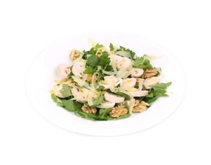 Mushroom salad with walnuts and parsley.