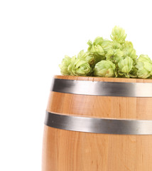 Hops and wooden barrel.