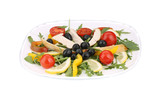 Chicken salad with tomatoes and olives.