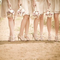 Group of bridesmaid ladies standing together with flowers