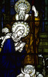 Jesus, Mary and Joseph in stained glass