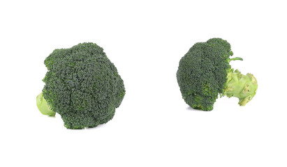 Two fresh broccoli pieces.