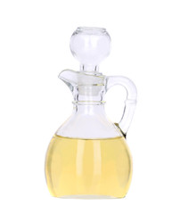 Sunflower oil in glass carafe.