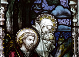 Flight into Egypt: Jesus, Mary and Joseph in stained glass