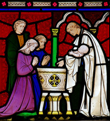 Baptism of a child in stained glass