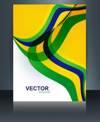Vector brochure Brazil flag concept template wave illustration