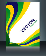 Abstract Brazil flag template stylish colorful wave brochure con
